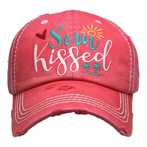 Sun Kissed Vintage Distressed Baseball Cap Hot Pink S21