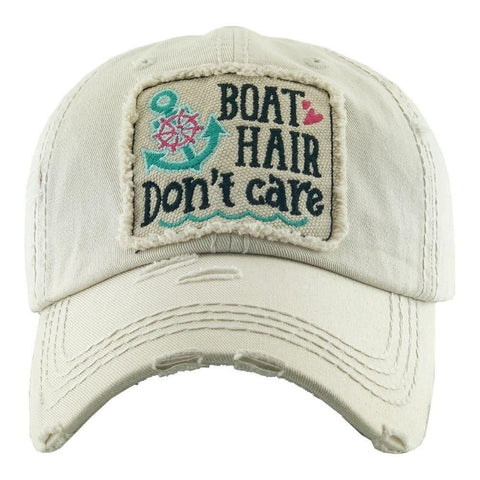 Boat Hair Don't Care Vintage Distressed Baseball Cap Stone S21