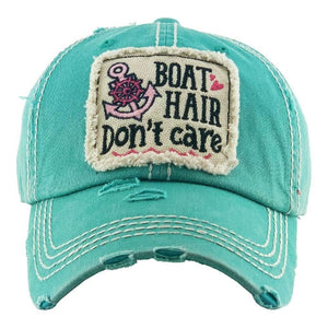 Boat Hair Don't Care Vintage Distressed Baseball Cap Turquoise S21