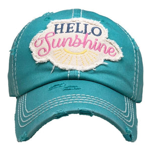 Hello Sunshine Vintage Distressed Baseball Cap Turquoise S21