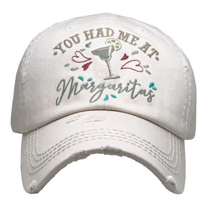 You Had Me At Margaritas Vintage Distressed Baseball Cap Stone S21