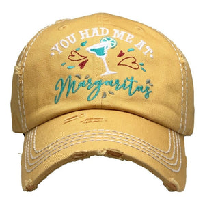 You Had Me At Margaritas Vintage Distressed Baseball Cap Yellow S21