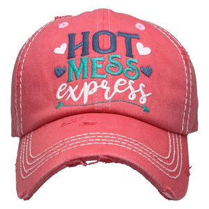 Hot Mess Express Vintage Distressed Baseball Cap Hot Pink S21
