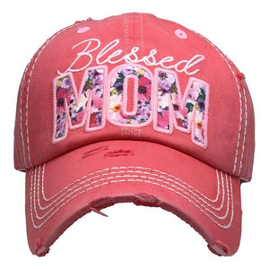 Blessed Mom Floral Vintage Distressed Baseball Cap Hot Pink S21