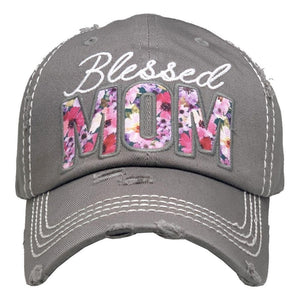 Blessed Mom Floral Vintage Distressed Baseball Cap Moss S21