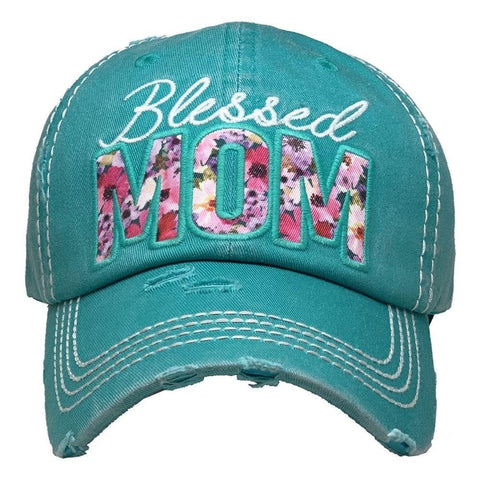 Blessed Mom Floral Vintage Distressed Baseball Cap Turquoise S21