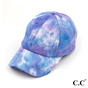 Tie Dye Criss Cross Pony Cap Purple S21