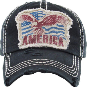 Vintage Distressed American Eagle Baseball Cap Black S21
