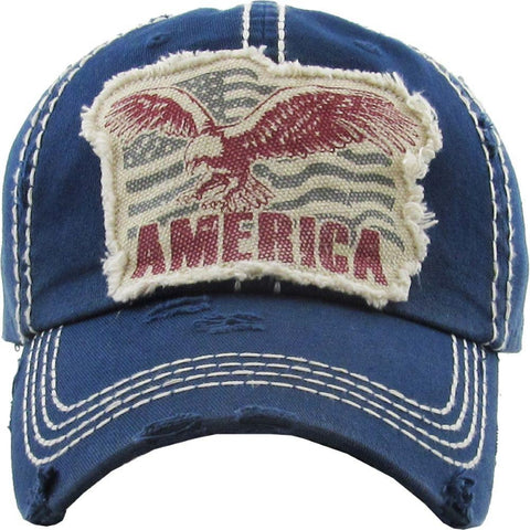 Vintage Distressed American Eagle Baseball Cap Blue S21