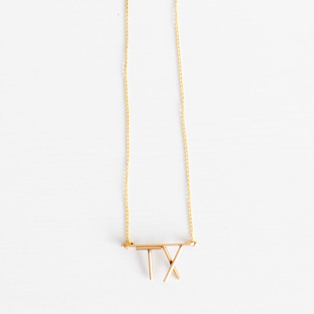 Hometown Pride Collection TX Initial Necklace in 14K