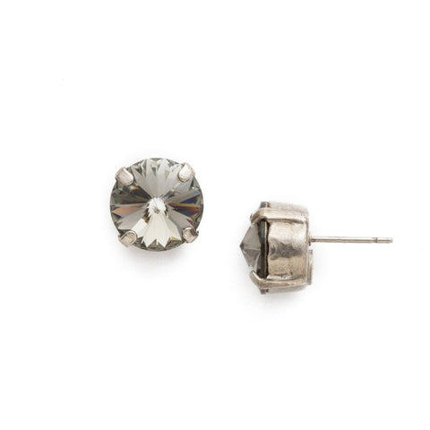 Sorrelli Round Crystal Stud Earring in Antique Silver-Tone Finish