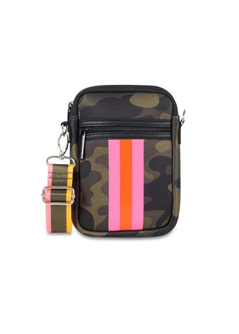 CASEY CELL PHONE BAG SHOWOFF GREEN CAMO PNK ORANGE STRIPE W20