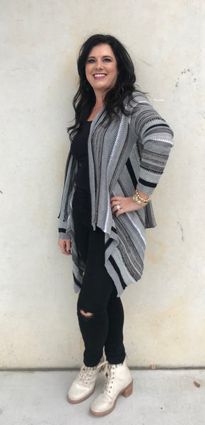 SWEATER CARDIGAN BLK MULTI STRIPE S20