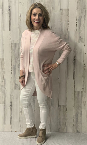 MARLED SWEATER KNIT COCOON PALE BLUSH/IVORY  S20