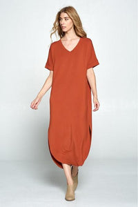 LONG BASIC V NECK DRESS RUST SU20