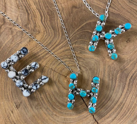 TURQUOISE INITIAL NECKLACE STERLING SILVER S21