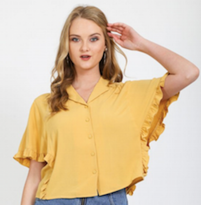 Very J Mustard Yellow Ruffle Sleeve Top