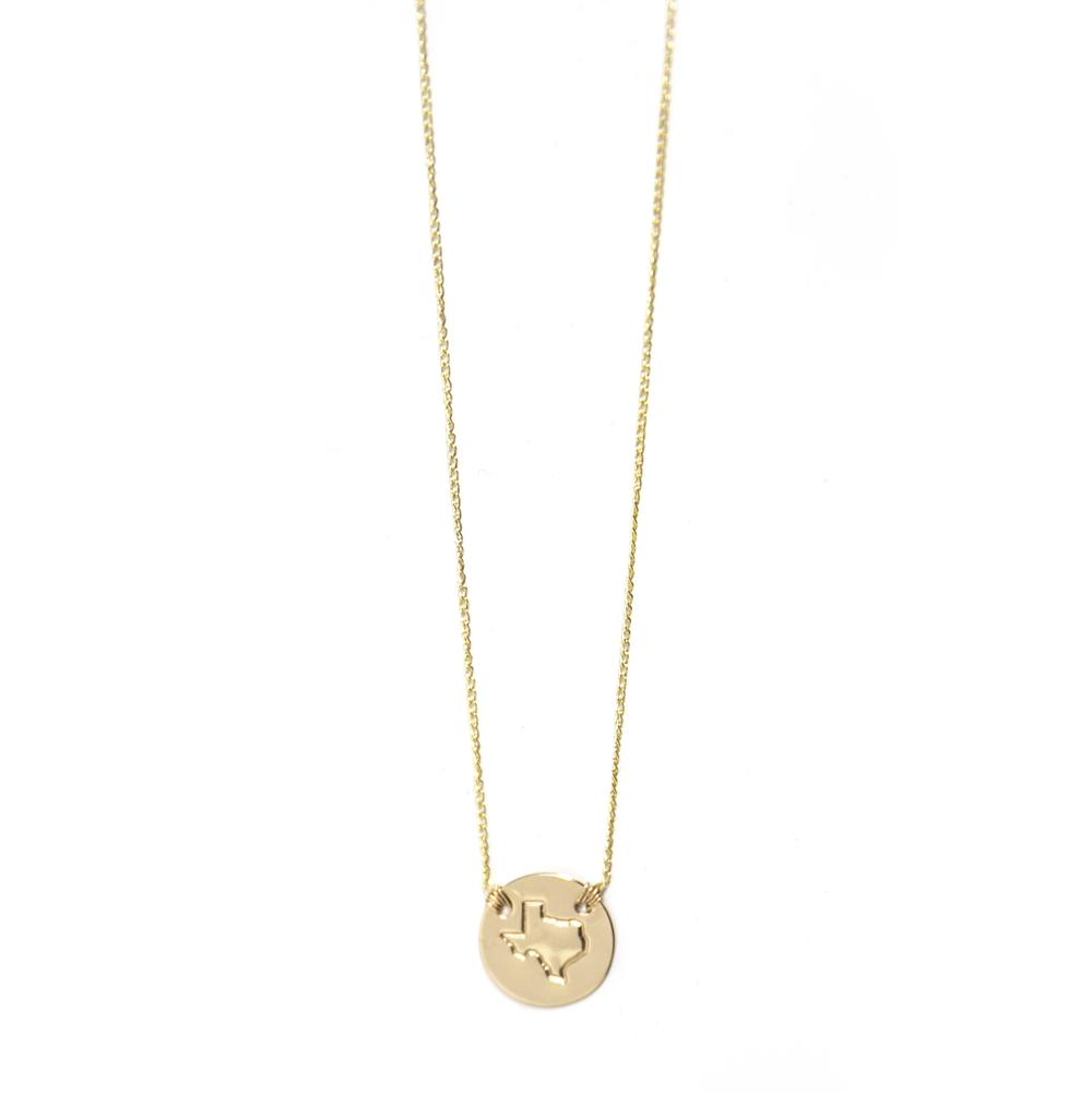 Hometown Pride Collection TX Disc Necklace in 14K