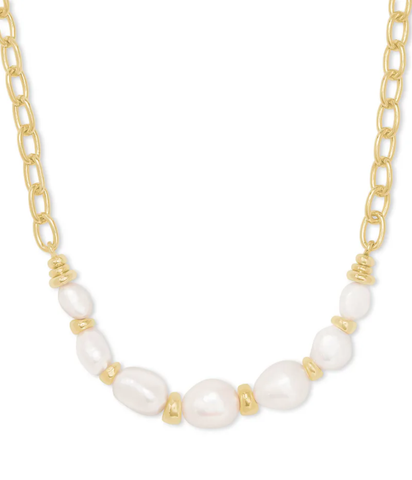 DEMI CHAIN NECKLACE GOLD BAROQUE PEARL