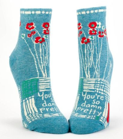 "Blue Q Women's Ankle Socks ""You're So Damn Pretty"""