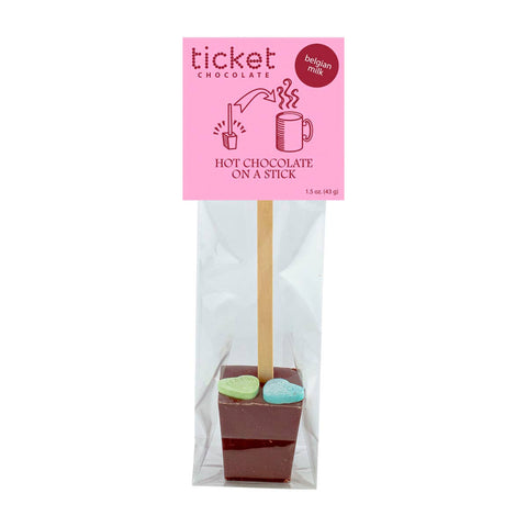 HOT CHOCOLATE ON A STICK VALENTINE SINGLE BELGIUM MILK CHOCOLATE W21