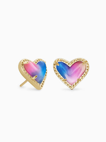 ARI HEART STUD EARRING GOLD WATERCOLOR ILLUSION