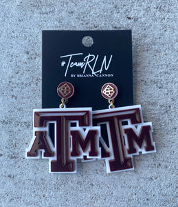TEXAS A&M EARRINGS WHITE GIG'EM/MAROON ACRYLIC F20