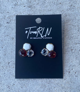 TEAM COLORS MAROON WHITE & CLEAR STUDS