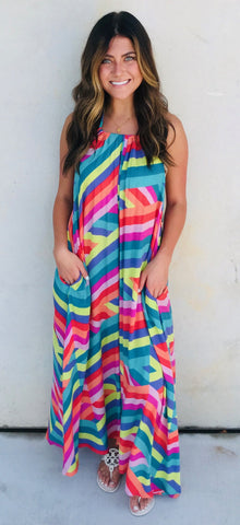 MAXI HALTER DRESS MULTI O/S