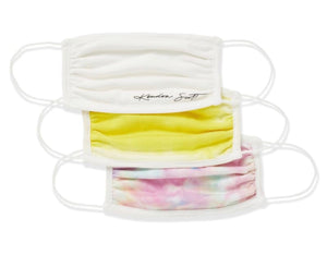 FACE MASK SET OF 3 WHT/TIE DYE F20