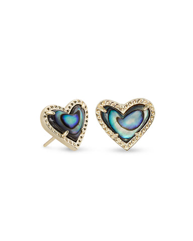 ARI HEART STUD EARRING GOLD ABALONE SHELL