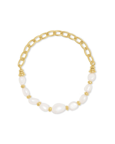 DEMI STRETCH BRACELET GOLD BAROQUE PEARL