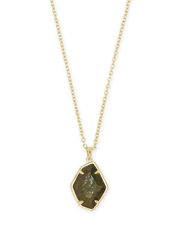 ELLINGTON SHORT PENDANT  GOLD OLIVE EPIDOTE
