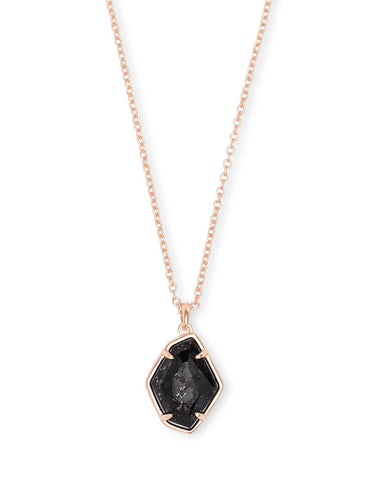 ELLINGTON SHORT PENDANT  ROSE GOLD BLACK GRANITE