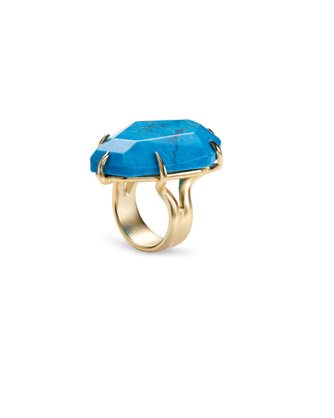 Megan Cocktail Ring Aqua Howlite Size 8
