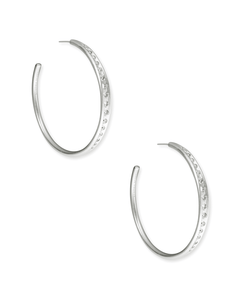SELENA EARRING RHODIUM METAL WHITE CZ