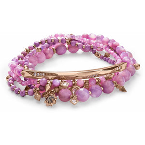 Supak Beaded Bracelet Set In Rose Gold and Lilac Mother of Pearl