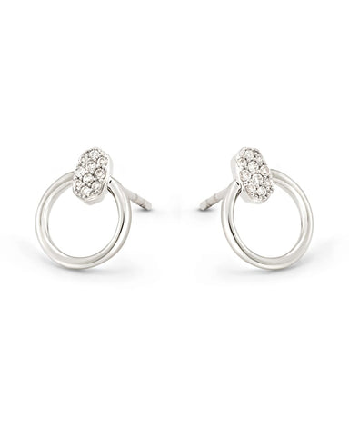 TEGAN MINI HOOP EARRING 14K WHITE GOLD WHITE DIAMOND