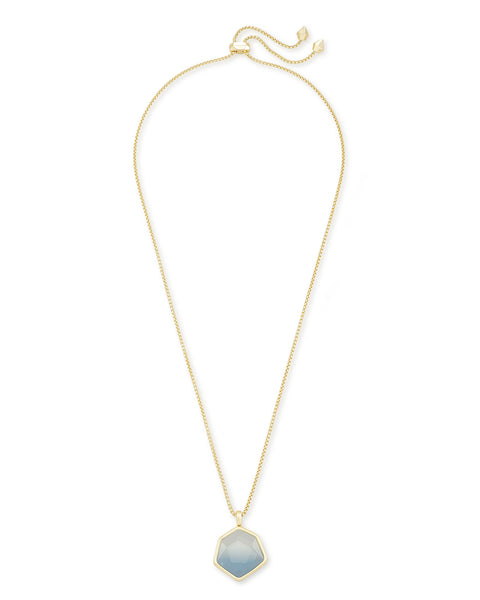 VANESSA LG LONG PENDANT GOLD STEEL GRAY OMBR