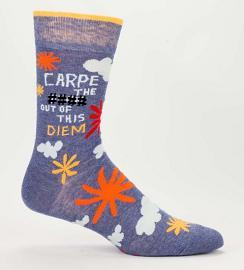 "Blue Q Men's Crew Socks ""Carpe the **** Out of this Diem"""