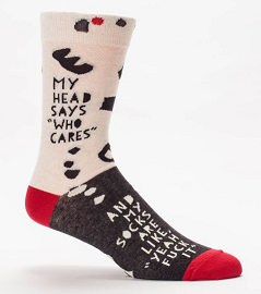 "Blue Q Men's Crew Socks ""My Head Says Who Cares"""