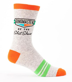 "Blue Q Men's Crew Socks ""Ringmaster Of The Shit Show"""