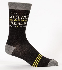 "Blue Q Men's Crew Socks ""Selective Hearing Specialist"""