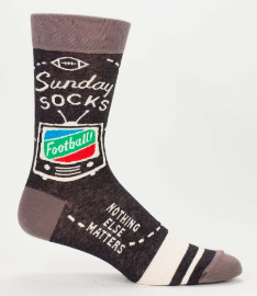 "Blue Q Men's Crew Socks ""Sunday Socks- Football Nothing Else Matters"""
