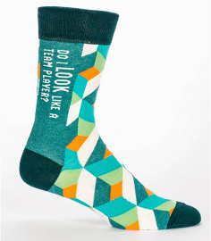 "Blue Q Men's Crew Socks ""Do I look like a team player?"""