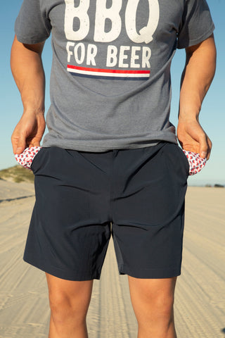 PERFORMANCE SHORTS DEEP WATER NAVY-REPUBLICAN POCKET  S20