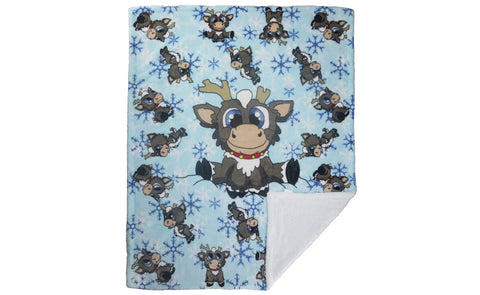 "REINDEER IN HERE KID'S SHERPA BLANKET 40""X50"" H20"