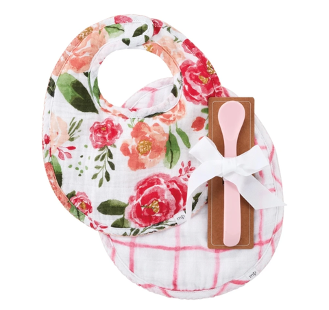 LARGE FLORAL BIBS AND SPOON S21
