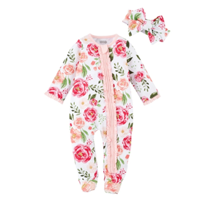 LARGE FLORAL SLEEPER AND HB 6 MONTHS