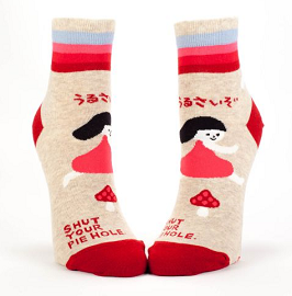 "Women's Ankle Socks ""Shut Your Pie Hole"""